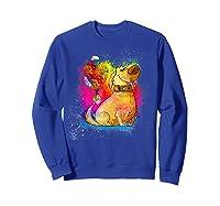 Pixar Up Dug Watercolor Rainbow Graphic Shirts Sweatshirt Royal Blue