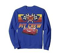 Disney Pixar Cars Mcqueen Pit Crew Red Distressed T-shirt T-shirt Sweatshirt Royal Blue