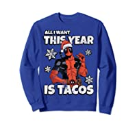 Deadpool Santa Hat I Want Tacos Christmas Shirts Sweatshirt Royal Blue