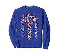 Floral Flower Boricua Taino Cool Gift Plum Puerto Rico Flag Shirts Sweatshirt Royal Blue