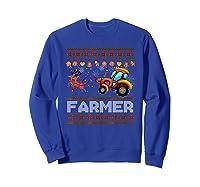 Tractors Farmer Christmas Funny Farming Xmas Gift Shirts Sweatshirt Royal Blue