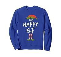 Happy Elf Matching Family Christmas Group Party Pajama Shirts Sweatshirt Royal Blue