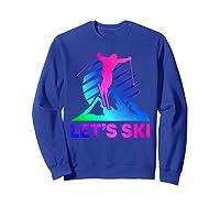 Retro Ski Vintage 80s 90s Skiing Out Shirts Sweatshirt Royal Blue