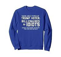 Trump Voters Are Billionaires Or Idiots T Shirt Impeach Tee Sweatshirt Royal Blue