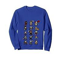 Friends Pixel Halloween Icons Scary Horror Movies T Shirt Sweatshirt Royal Blue
