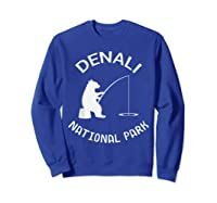 Alaska Denali National Park Bear Fishing Silhouette T-shirt Sweatshirt Royal Blue