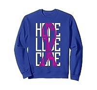 Breast Cancer Awareness Month T Shirt I Pink Ribbon Gift Sweatshirt Royal Blue