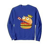 King Hamburger Drinking Tomato Sauce Funny Cartoon Tshirt Sweatshirt Royal Blue