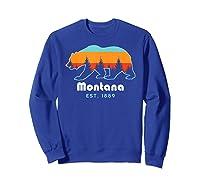 Montana 1889 Wilderness Mountain Wildlife Bear Tshirt Sweatshirt Royal Blue