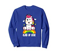 Unicorn First Day Of School Class Of 2032 Grow With Me Premium T-shirt Sweatshirt Royal Blue
