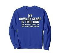 My Common Sense Is Tingling Superpower Sarcastic T Shirt Sweatshirt Royal Blue