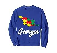 Autism Awareness Day Georgia Puzzle Pieces Gift Shirts Sweatshirt Royal Blue