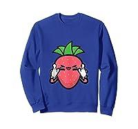 Strawberry Rock Roll Rocker Gift Sign Of Horns Shirts Sweatshirt Royal Blue