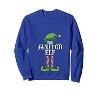 Janitor Elf Matching Family Group Christmas Party Pajama T-shirt Sweatshirt Royal Blue