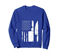 Chef Cooking American Flag Vintage Culinary Chefs Gifts T Shirt Sweatshirt Royal Blue