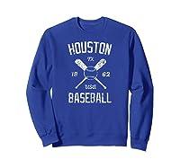 Houston Baseball Vintage Look Distressed 1962 Tshirt Sweatshirt Royal Blue