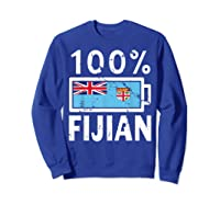 Fiji Flag T Shirt 100 Fijian Battery Power Tee Sweatshirt Royal Blue