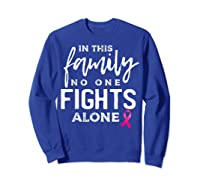In This Family No One Fights Alone Breast Cancer Gift T Shirt Sweatshirt Royal Blue