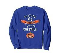 Halloween Pregnancy Announcet Tshirt Pumpkin April 2019 Sweatshirt Royal Blue