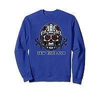 New England Football Helmet Sugar Skull Day Of The Dead Shirts Sweatshirt Royal Blue