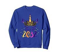Unicorn Face Class Of 2032 First Day Kindergarten Girls Gift Shirts Sweatshirt Royal Blue