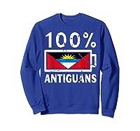 Antigua Barbuda Flag Shirt 100 Antiguans Battery Power Sweatshirt Royal Blue