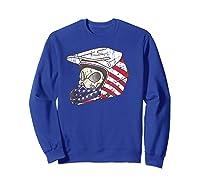 Usa Flag American Skull Helmet Patriotic Motorcyclist T Shirt Sweatshirt Royal Blue