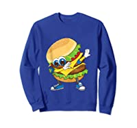 Cool Dabbing Burger Funny Street Dancer Hamburger Lover Gift Tank Top Shirts Sweatshirt Royal Blue