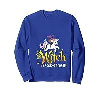 Unicorn Pony This Witch Is Spook Tacular Cute Girls Kawaii Shirts Sweatshirt Royal Blue