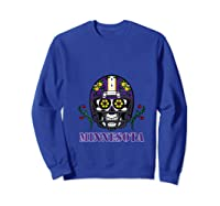 Minnesota Football Helmet Sugar Skull Day Of The Dead T Shirt Sweatshirt Royal Blue