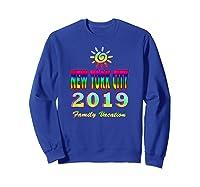 New York City Family Vacation 2019 Spiral Sun Rainbow T Shirt Sweatshirt Royal Blue