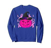 Pink Ribbon Pumpkin Halloween Breast Cancer Awareness Month Premium T Shirt Sweatshirt Royal Blue