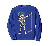 Dabbing Skeleton Hockey Halloween Gift Shirts Sweatshirt Royal Blue