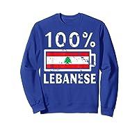Lebanon Flag T Shirt 100 Lebanese Battery Power Tee Sweatshirt Royal Blue