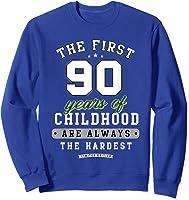 90th Birthday Funny Gift Life Begins At Age 90 Years Old T-shirt Sweatshirt Royal Blue