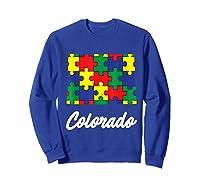 Autism Awareness Day Colorado Puzzle Pieces Gift Shirts Sweatshirt Royal Blue