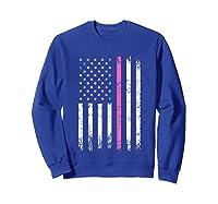 Stars Stripes Thin Pink Line Breast Cancer Awareness Month T Shirt Sweatshirt Royal Blue