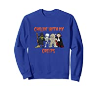 Chillin With My Creeps Vampire Halloween Skeleton Witch Gift Shirts Sweatshirt Royal Blue