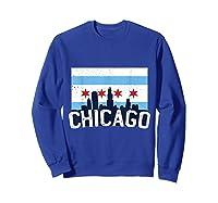 Chicago Flag Skyline Shirt Chi Town Pride City Flag Gift T Shirt Sweatshirt Royal Blue