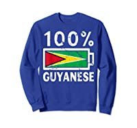 Guyana Flag T Shirt 100 Guyanese Battery Power Tee Sweatshirt Royal Blue