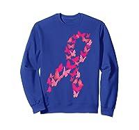 Pink Ribbon Butterfly Cute Breast Cancer Awareness Gift T Shirt Sweatshirt Royal Blue