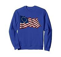America Betsy Ross Flag 1776 Vintage Distressed T Shirt Sweatshirt Royal Blue