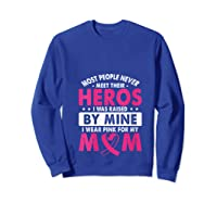 I Was Raised By Mine I Wear Pink For My Mom Breast Cancer T Shirt Sweatshirt Royal Blue