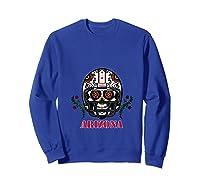Arizona Football Helmet Sugar Skull Day Of The Dead T Shirt Sweatshirt Royal Blue