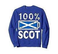 Scotland Flag T Shirt 100 Scot Battery Power Tee Sweatshirt Royal Blue