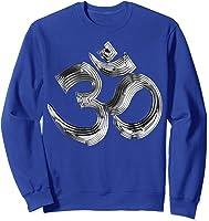 Om Yoga Chrom Zeichen   Buddha Vishnu Liebe Schwarz Weiß T-shirt Sweatshirt Royal Blue