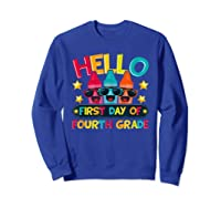 Hello First Day Of Fourth Grade Cute Crayon Student Tea Shirts Sweatshirt Royal Blue