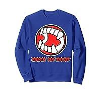 Funny Creepy Halloween Vampire Tooth Trick Treat Shirts Sweatshirt Royal Blue