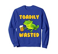 Funny Frog Drink Beer Toadily Wasted Beer Party Gift T Shirt Sweatshirt Royal Blue