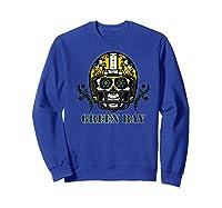 Green Bay Football Helmet Sugar Skull Day Of The Dead Premium T-shirt Sweatshirt Royal Blue